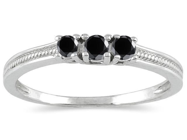 1/4 Carat TW Black Diamond 3 stone Ring in 10K White Gold