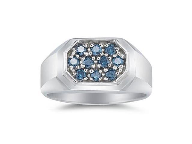Blue Diamond Men's Ring in White Gold