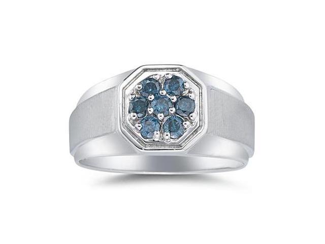 Men's Blue Diamond Cluster Ring in White Gold