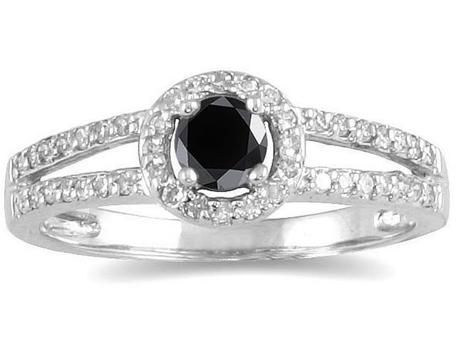 1/2 CTW Black and White Diamond Ring in 10K White Gold