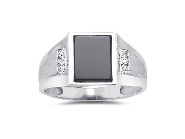 10Kt White Gold Onyx and Diamond Men's Ring