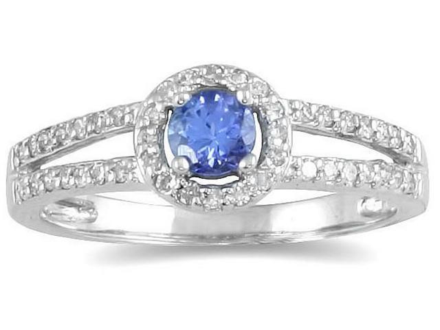 1/4 Carat TW Diamond and Tanzanite Ring in 10K White Gold