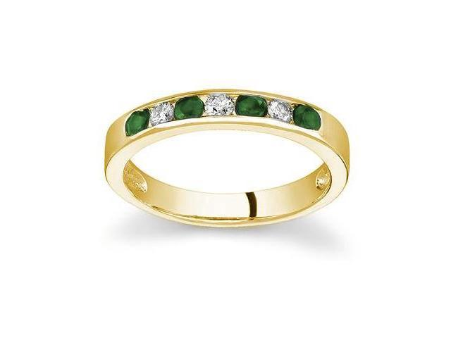 Emerald and Diamond Stackable Channel Ring