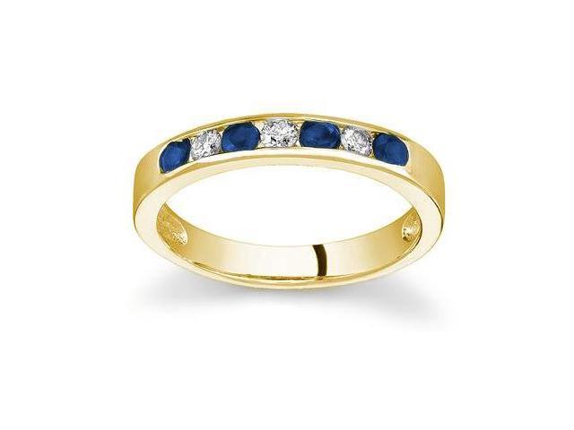 Sapphire and Diamond Stackable Channel Ring