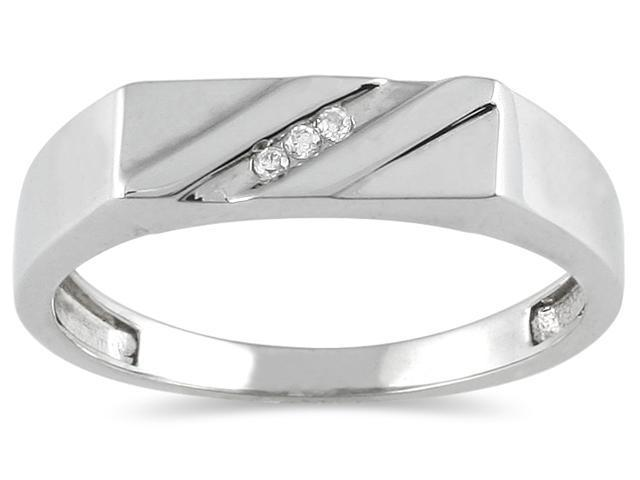 Men's Three stone Round Diamond Ring in 10K White Gold