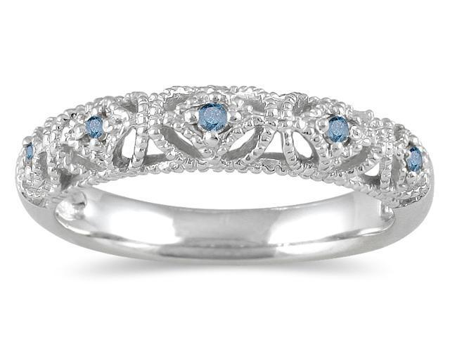 1/10 Carat TW Blue Diamond Antique Band in 10K White Gold