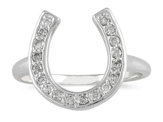 Diamond Horseshoe Ring in 14k White Gold