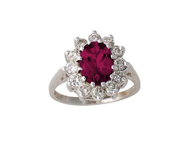 1 carat Diamond and Ruby Ring in 14K White Gold
