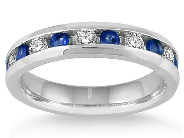 3/4 Carat Sapphire and Diamond Band in 14k White Gold