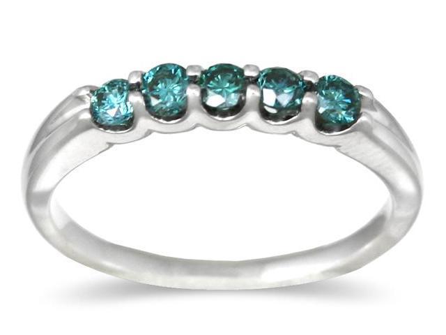 .50CTW White Gold Blue Diamond 5 Stone Ring in 14K White Gold