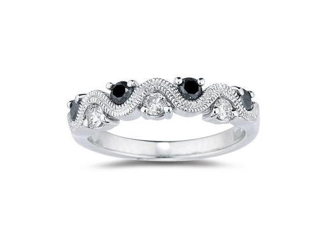 Black & White Diamond Women's  Band in 10K White Gold