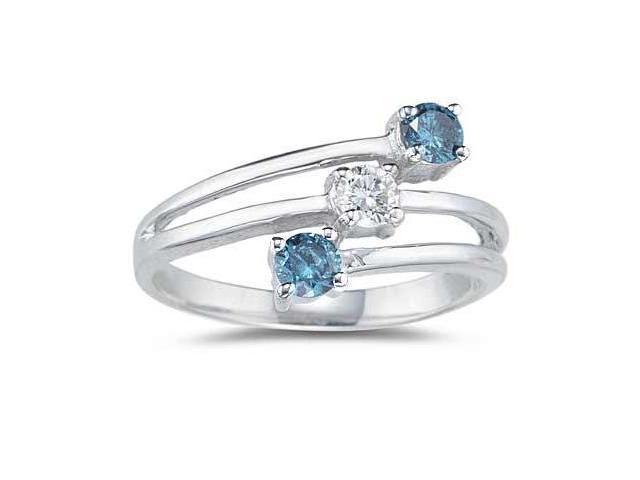 Three Stone Blue And White Diamond Ring in 10k White Gold