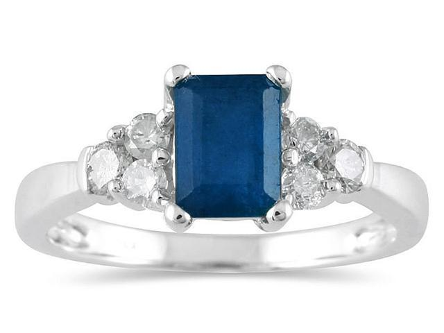 Sapphire and Diamond Ring 14K White Gold