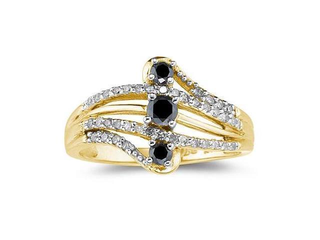 Black and White Diamond Ring in 10K Yellow Gold