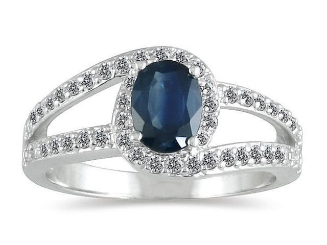 Sapphire and Diamond Wrap Ring in 14k White Gold