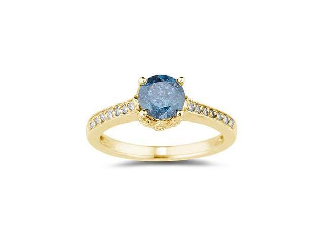 1 1/5 Carat Blue and White Diamonds Ring in 14K Yellow  Gold