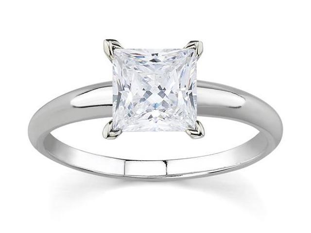 1/2 Carat Princess Diamond Solitaire Ring in 14K White Gold
