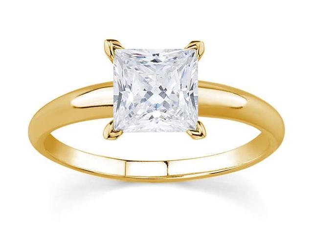 1/3 Carat Princess Diamond Solitaire Ring in 14K Yellow Gold