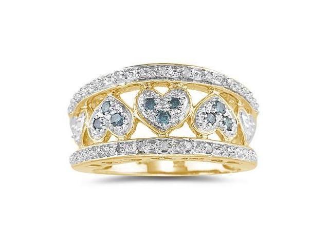 Blue and White Diamond Heart Ring in 10k Yellow Gold