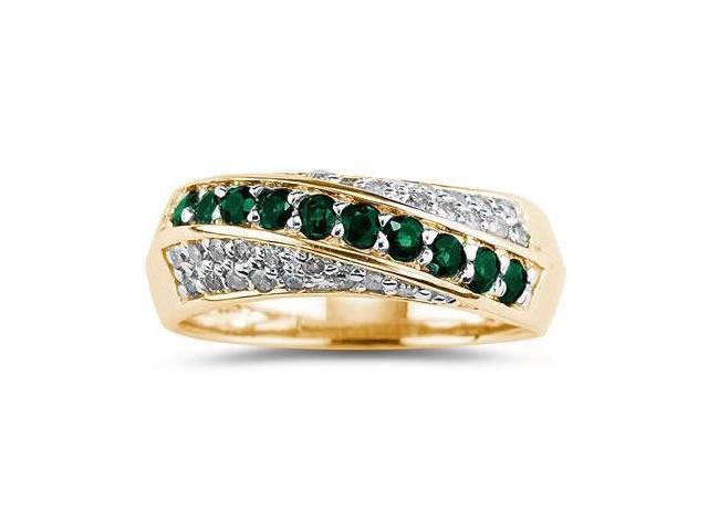 Emerald  and Diamond Ring 10k Yellow  Gold