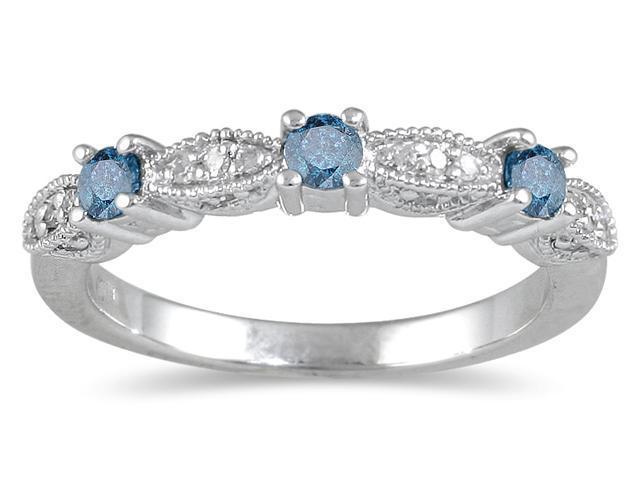 1/3 Carat Blue Diamond Band in 10K White Gold