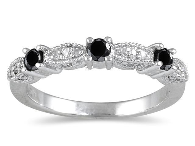 1/3 Carat TW Black and White Diamond Band in 10K White Gold