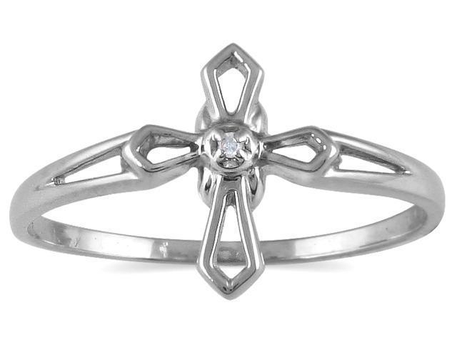 .05 Carat Diamond Cross Ring in 10K White Gold