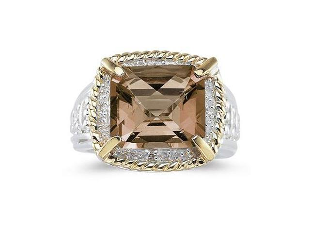 Emerald Cut Smokey Quartz and Diamond Ring in 14K Yellow Gold and Silver