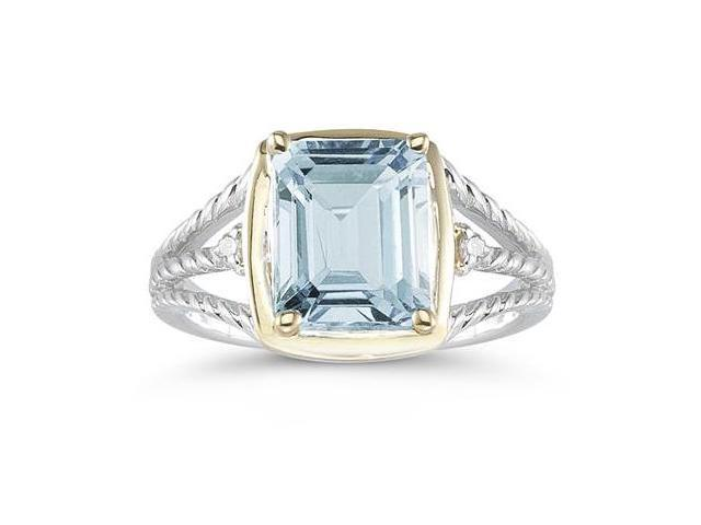 4.5ct Aquamarine And Diamond Ring in 14K Yellow Gold And Silver