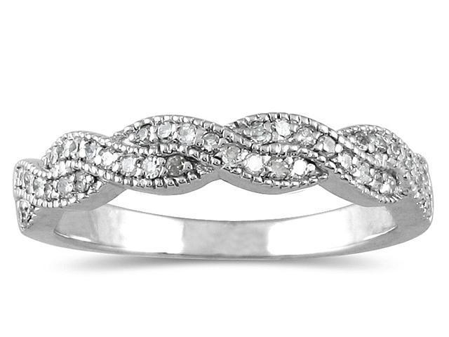1/3 Carat Diamond Wedding Band in 10K White Gold