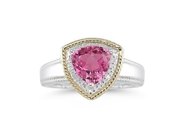 Trillion Cut Pink Topaz and Diamond Ring in 14K Yellow Gold and Silver