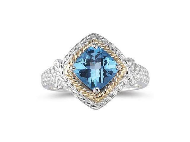 1.5ct Blue Topaz Ring in 14K Yellow Gold And Silver
