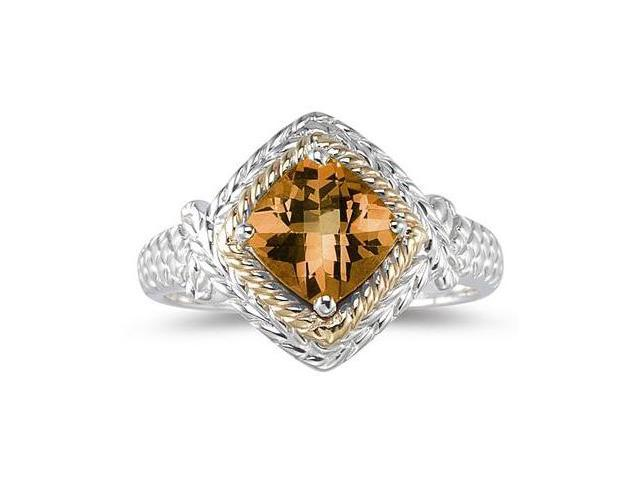 1.5ct Citrine Ring in 14K Yellow Gold And Silver