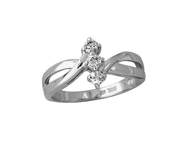 1/4 Carat Three Stone Diamond Ring in 10K White Gold