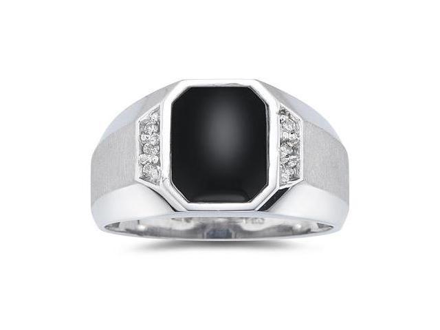 10K White Gold Onyx and Diamond Men's Ring