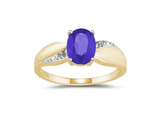Tanzanite and Diamond  Ring 10K yellow Gold