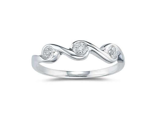 3 Stone Diamond Wave Band in 10k White Gold