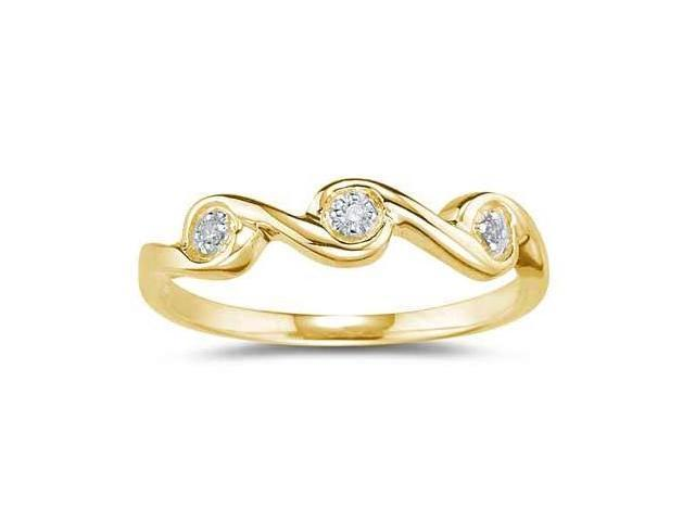 3 Stone Diamond Wave Band in 10k Yellow Gold
