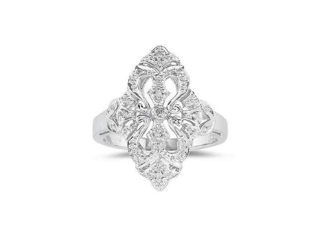 10K Engraved Antique White Gold Diamond  Ring