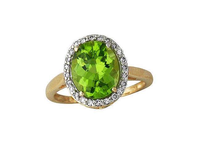 Peridot and Diamond Ring 14k Yellow Gold