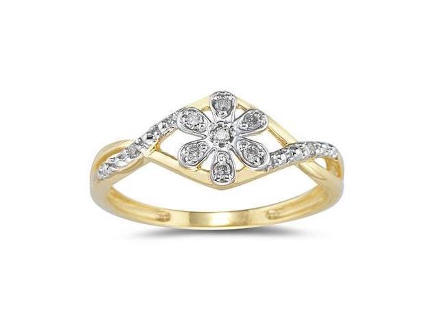 Diamond Flower Twist Ring in 10 Kt Yellow Gold