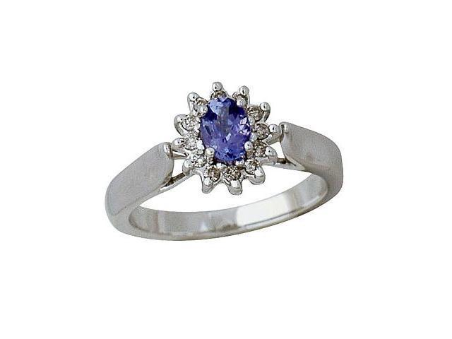 14kt White Gold Diamond and Tanzanite  Ring