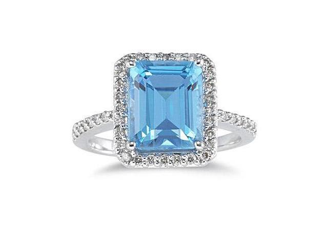 4.50 Carat Blue Topaz Ring with Diamonds in 14K White Gold