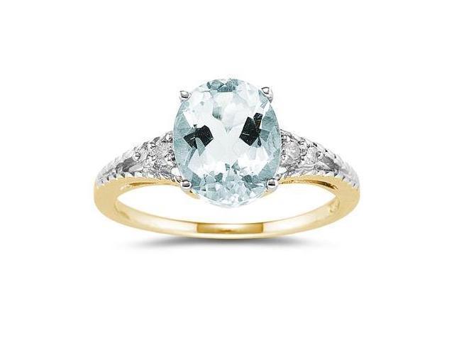 Oval Cut Aquamarine & Diamond Ring in Yellow Gold