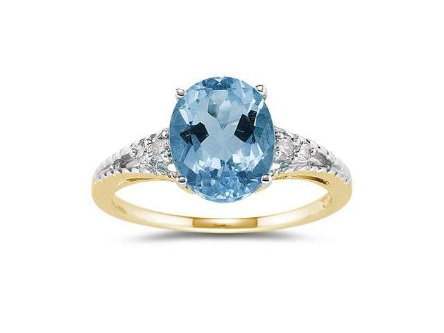 Oval Cut Blue Toapz & Diamond Ring in Yellow Gold