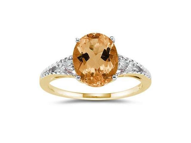 Oval Cut Citrine & Diamond Ring in Yellow Gold