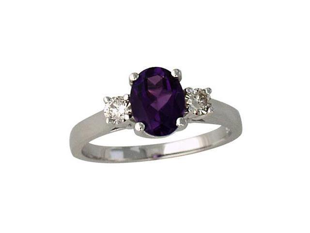 1 3/4 Carat Amethyst and Diamond Three Stone Ring 14K White Gold