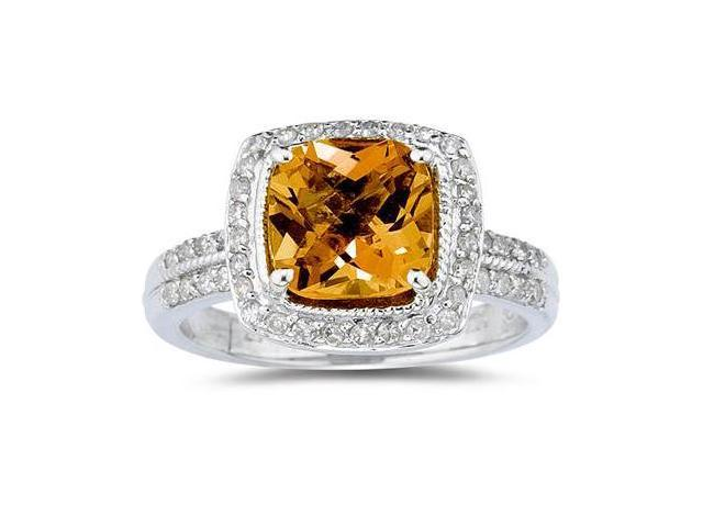 2 1/2 Carat Cushion Cut Citrine & Diamond Ring in 14K White Gold