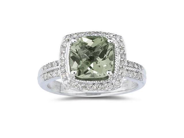 2.50 Carat Cushion Cut Green Amethyst & Diamond Ring in 14K White Gold