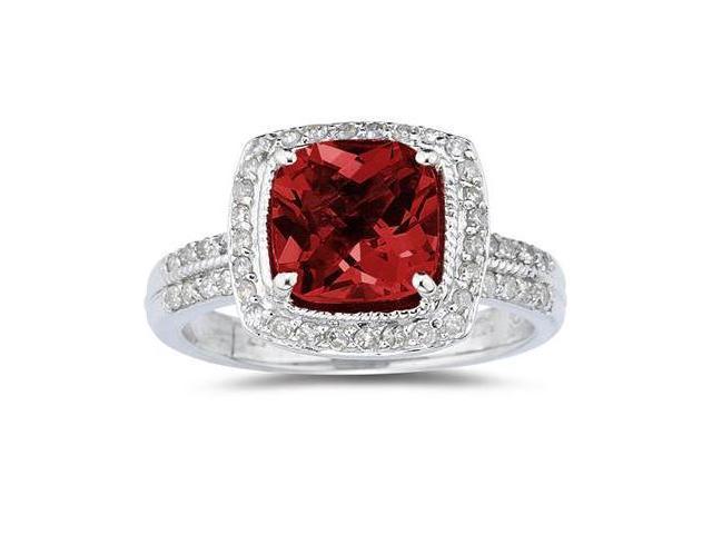 2.50 Carat Cushion Cut Garnet & Diamond Ring in 14K White Gold